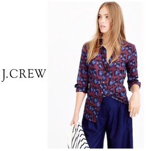 J .crew perfect shirt - cobalt leopard